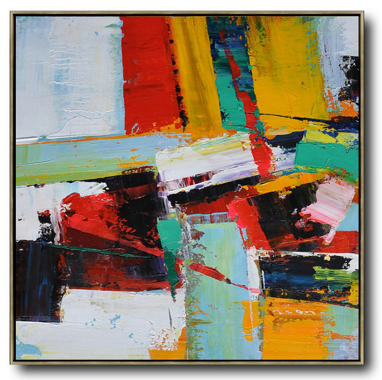 Oversized Palette Knife Painting Contemporary Art On Canvas,Huge Abstract Canvas Art,Grass Green,Red,Yellow,Black